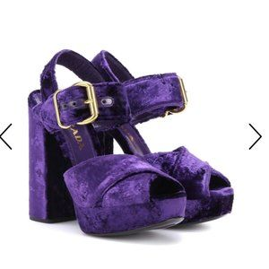 Purple Velvet Prada Platform Sandals 36.5